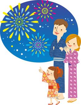 Fireworks and Yukata family B