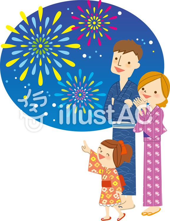 花火と浴衣の家族Bのイラスト