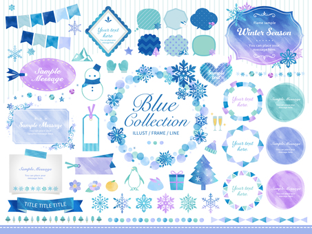 Winter, snowflake / watercolor frame speech bubble set