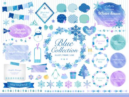 冬天,雪花/水彩框架講話泡泡套