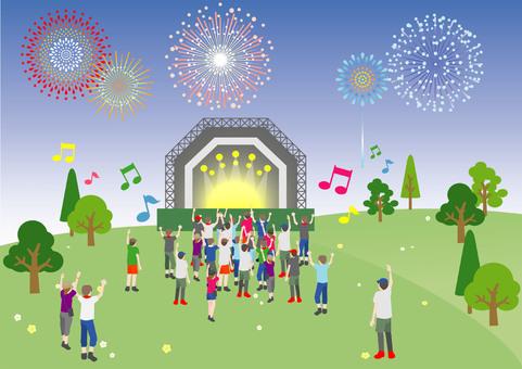 Evening grassland holding an outdoor festival