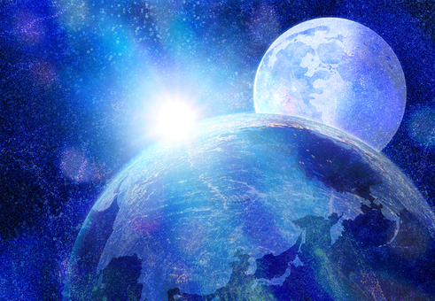 幻想的な月と太陽の宇宙イメージと地球の朝