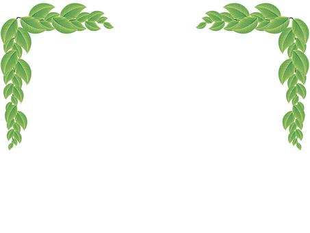 Green leaf message card background