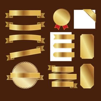 Set of ribbon (gold) decorative frame