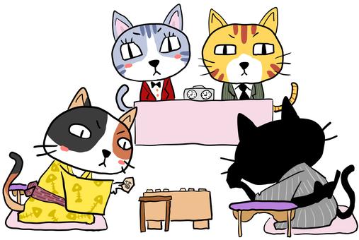 将棋対局する4匹の猫