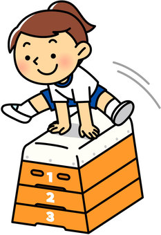 A girl leaping a jumping box