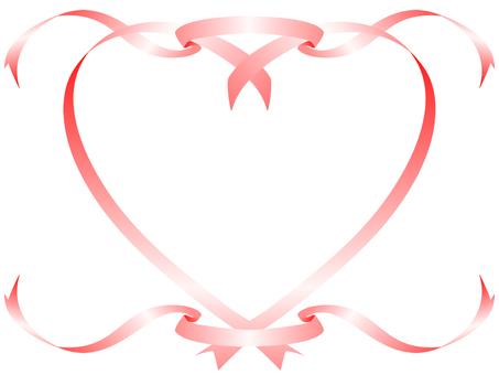 Heart ribbon - 2 pink