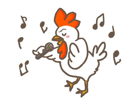 Chicken playing karaoke