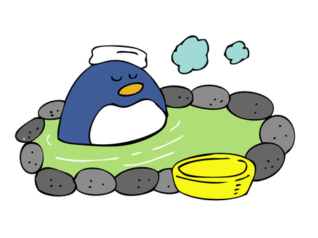 Penguin entering a hot spring
