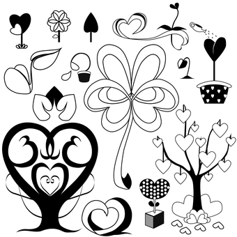 A plant illustration with a heart motif