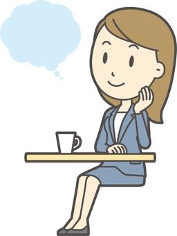 파란색 정장 여성 -279- 전신