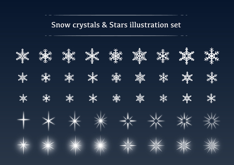 Snow / ice crystal, sparkling star material set