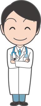 年輕的醫生用胳膊堅持聽診器