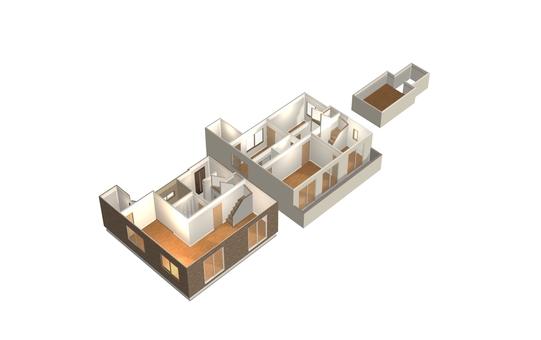 4LDK Floor plan ① (3-D solid, no furniture)
