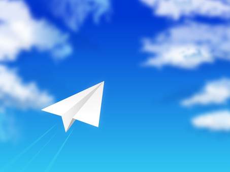 Blue sky and paper airplane 02