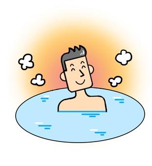 Men taking a bath