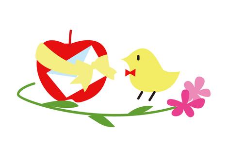 작은 새와 사과 편지와 꽃