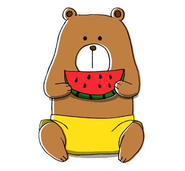 곰, 수박을 먹고
