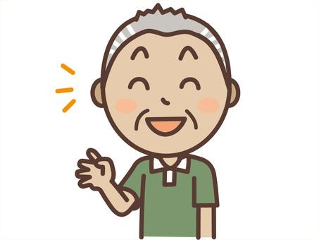 Fair-grandpa Grandpa waving with a smile
