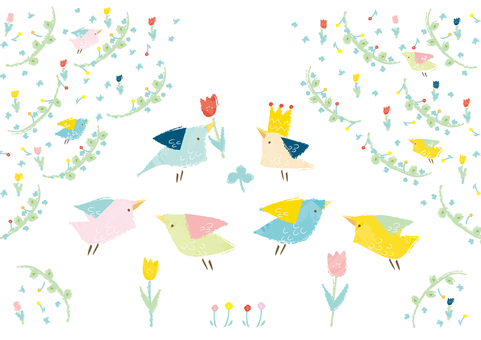 Materials for flowers and small bird letters