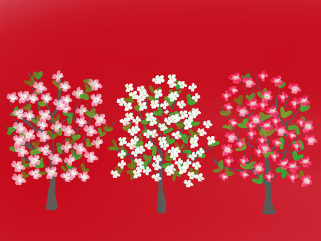 Flower tree tree tree background red
