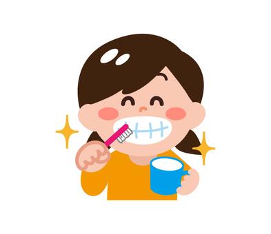 Girls brushing teeth 2
