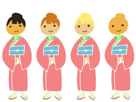 Kimono female pink full body