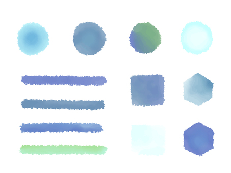 Winter color water brush illustration material