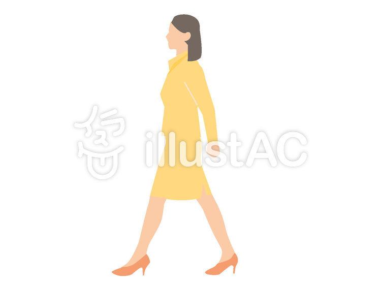 歩く女性 横向きイラスト No 1000129無料イラストならイラストac