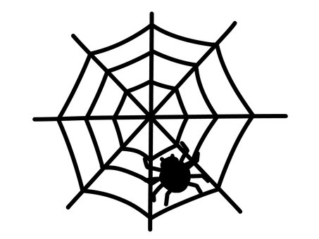 Spider web and spider (silhouette)