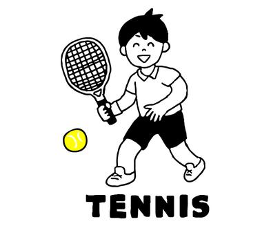 テニスをする男性(シンプル)