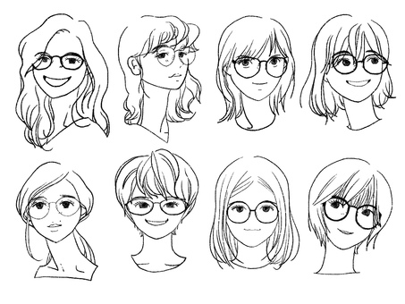 Glasses woman icon pencil line drawing 8 people