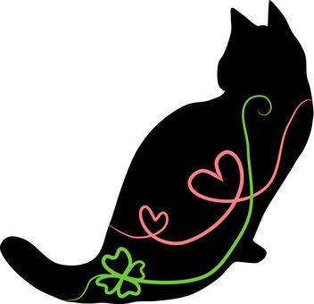 Nyanko silhouette Heart and Clover