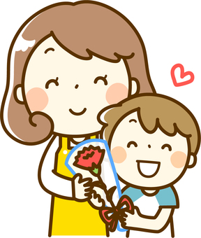 A boy passing a carnation