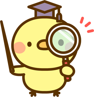 A chick teacher with a magnifying glass