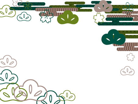 Japanese style cherry blossoms and pine greens