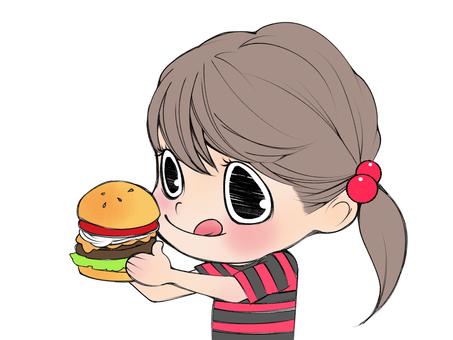 I eat a hamburger.
