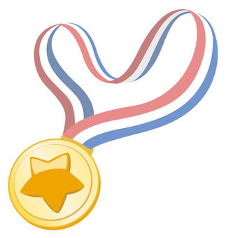 Gold medal with star ribbon (star)