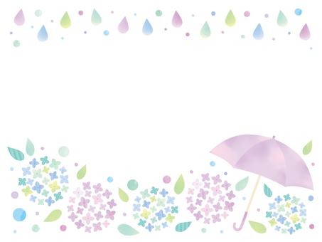 梅雨の紫陽花フレーム01
