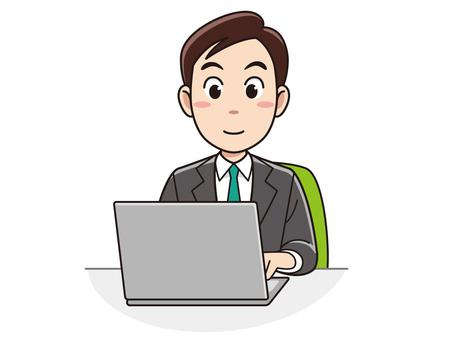 使用便携式计算机的商人