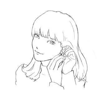 A woman wearing an earring