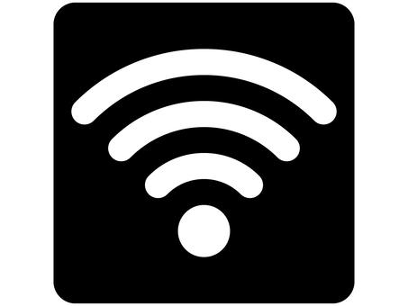 Wi-Fi (WiFi) Mark Round Black