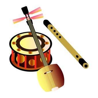 Japanese instruments (shamisen, flute and drum)