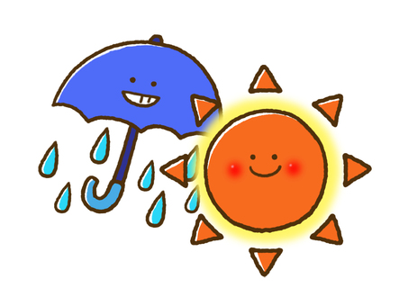 (Weather) sunny and occasional rain