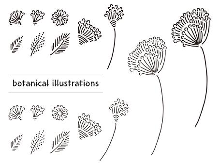 手描き風 植物の素材セット