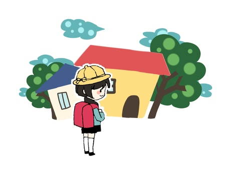 Elementary school student and house