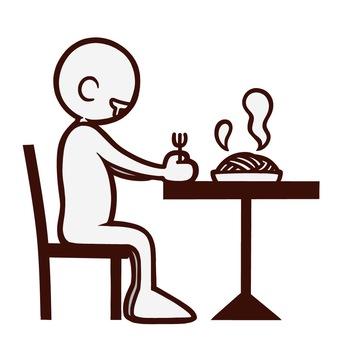 레스토랑에서 파스타를 먹으려 고하는 사람