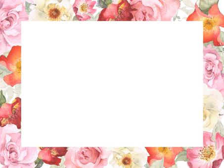 홑겹의 장미 꽃 테두리 조치 자르기 프레임