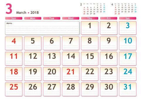 2018年カレンダー 3月