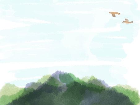 山と空と鳥